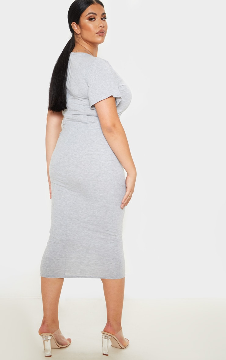Plus Grey Marl Jersey V Neck T- Shirt Midi Dress 2