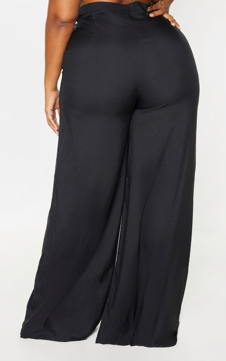 Plus Black Woven Pleat Detail Waistband Wide Leg Trouser 4