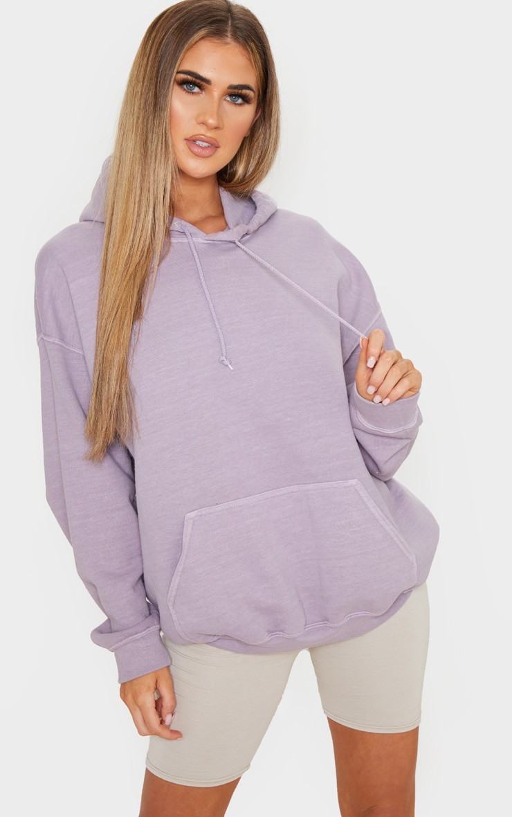 Lilac Washed Oversized Hoodie 1