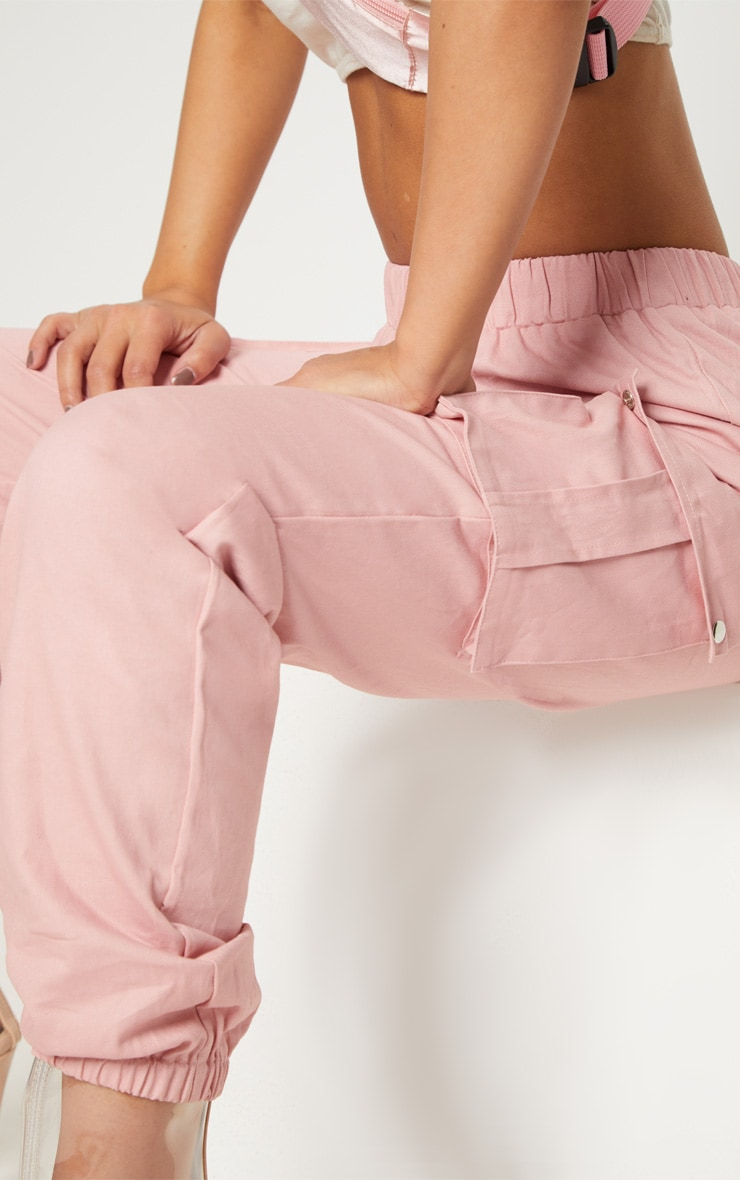 Petite Dusty Pink Pocket Detail Cargo Trousers 6
