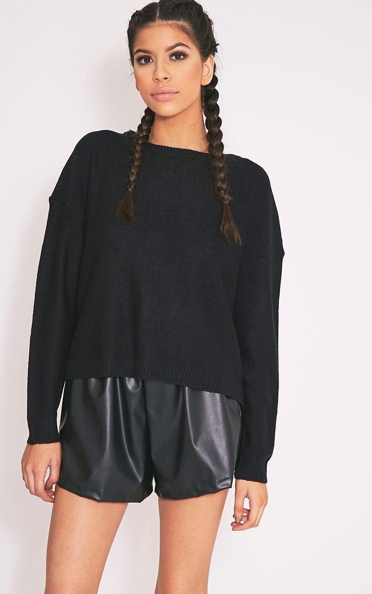 Alissa pull surdimensionné à grosse maille lacets au dos noir 3