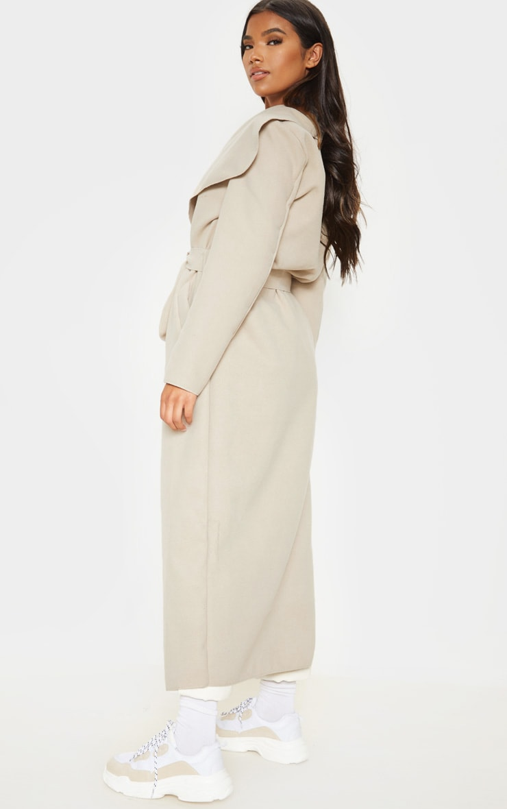 Stone Maxi Length Oversized Waterfall Belted Coat 2