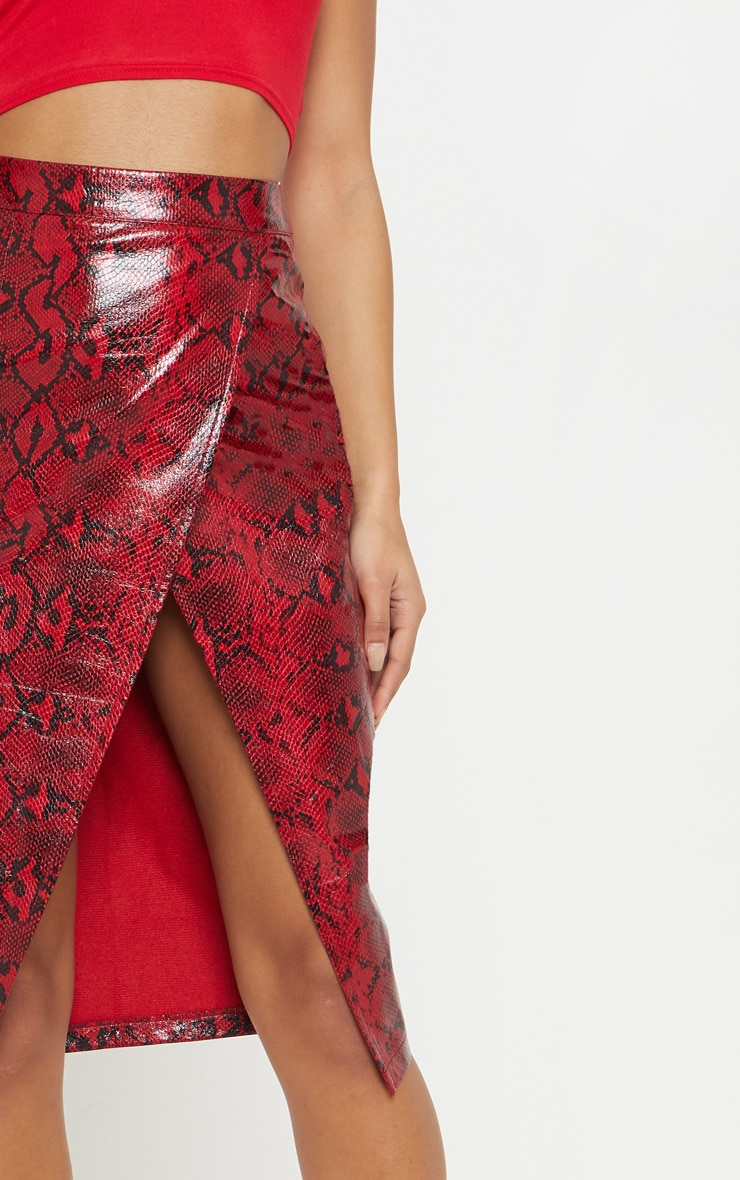 Red Faux Leather Snakeskin Midi Skirt 6
