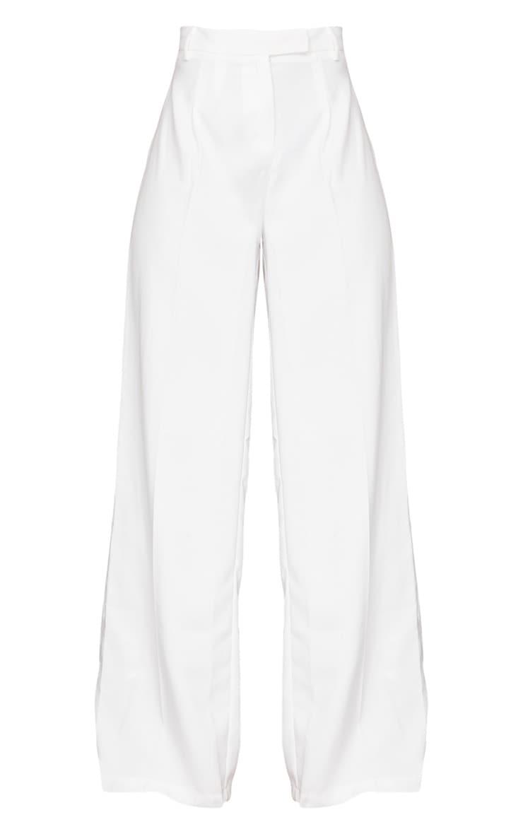 White Wide Leg Woven Pants 5