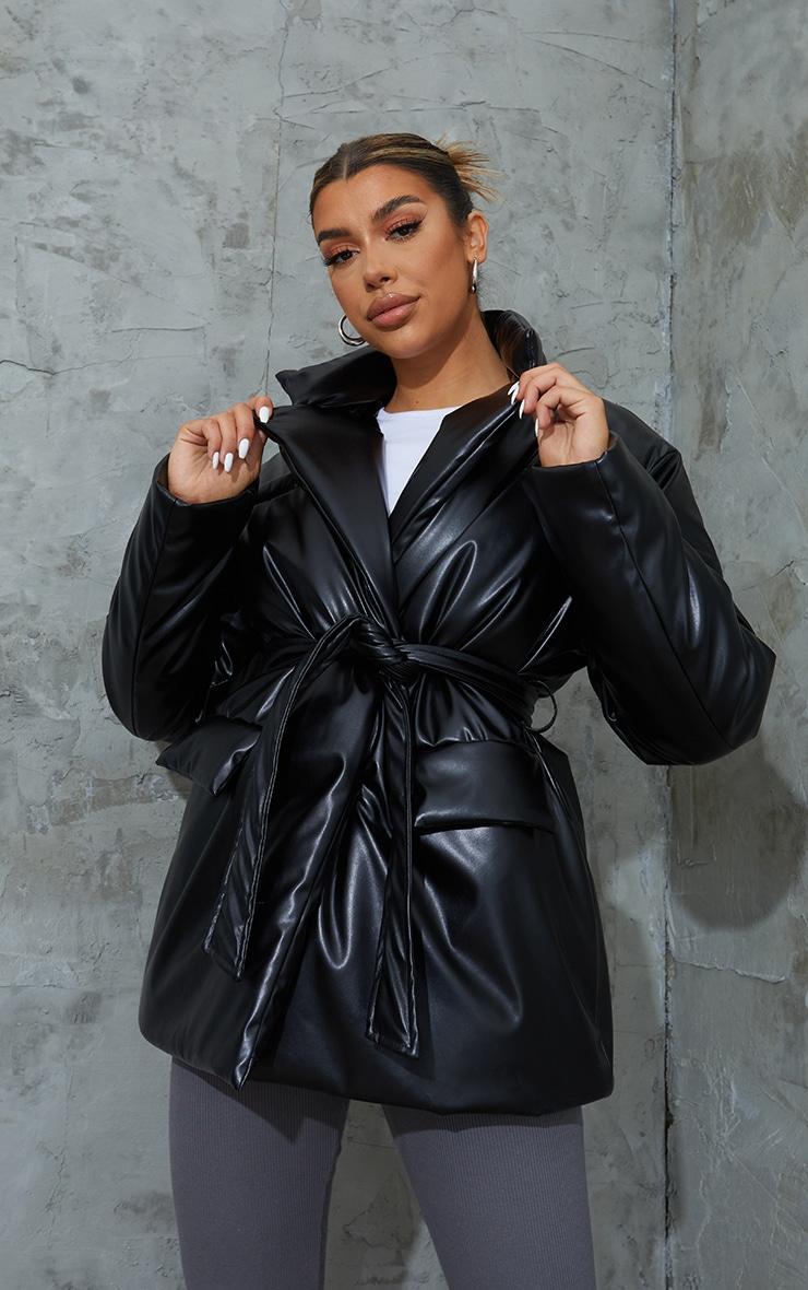 Black PU Belted Padded Blazer Style Puffer Coat 1