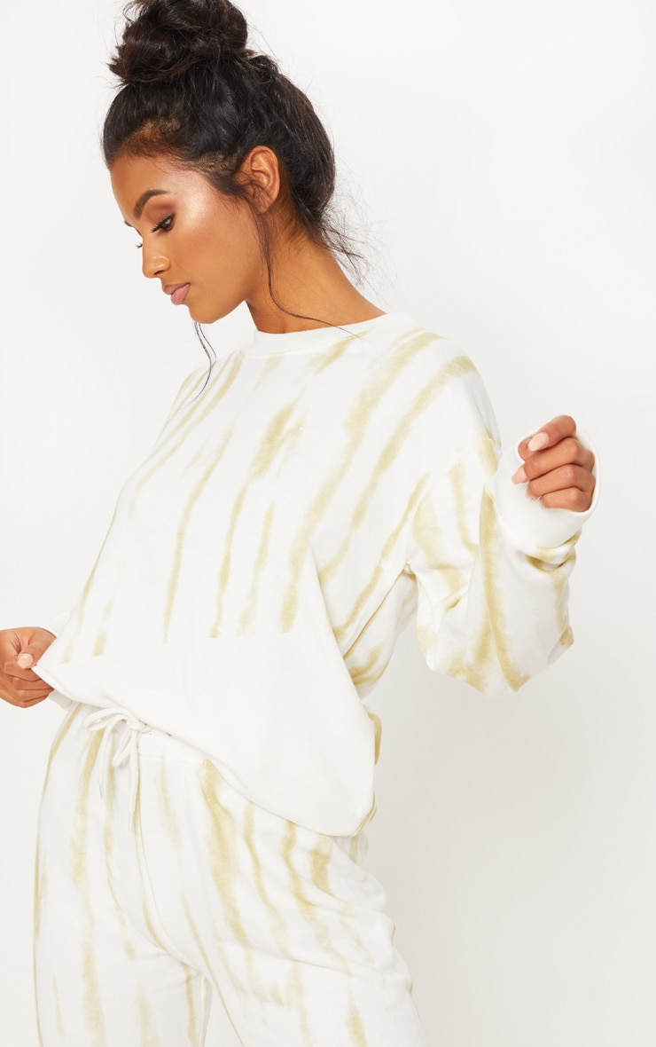 Cream Tie Dye Oversized Sweater