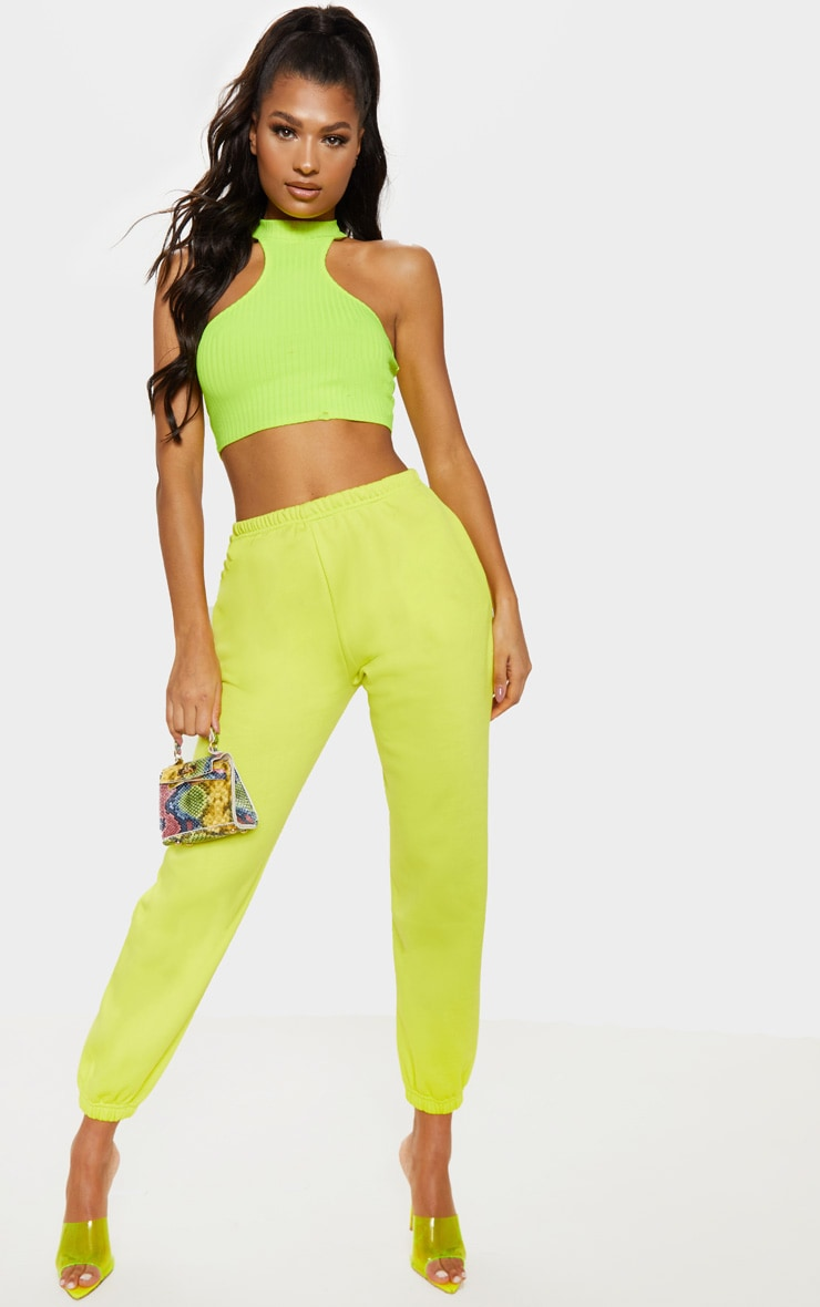Neon Lime Casual Joggers by Prettylittlething