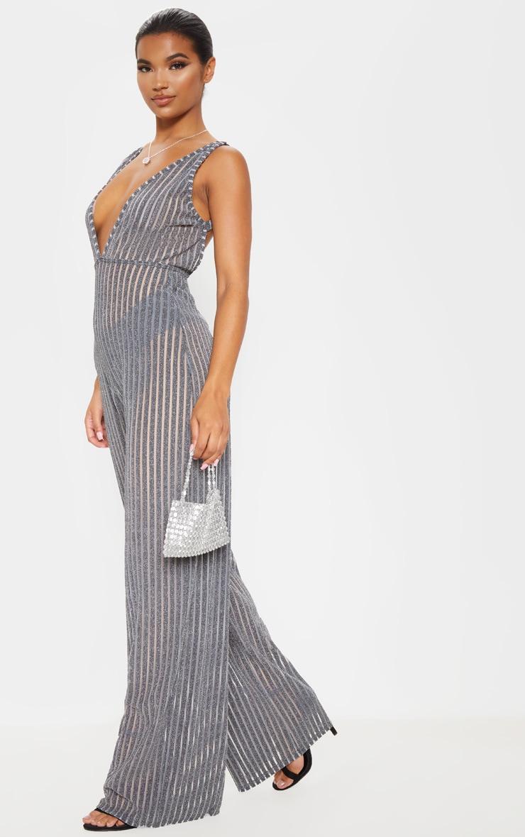 Silver Striped Glitter Plunge Jumpsuit 4