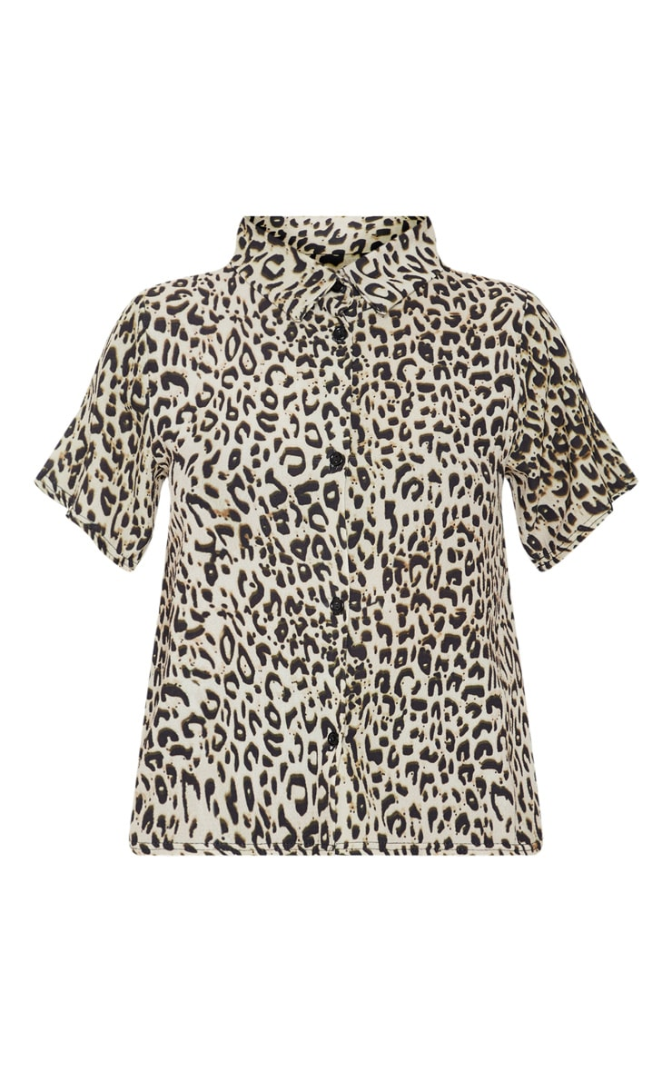 Petite Brown Leopard Print Cropped Shirt  2
