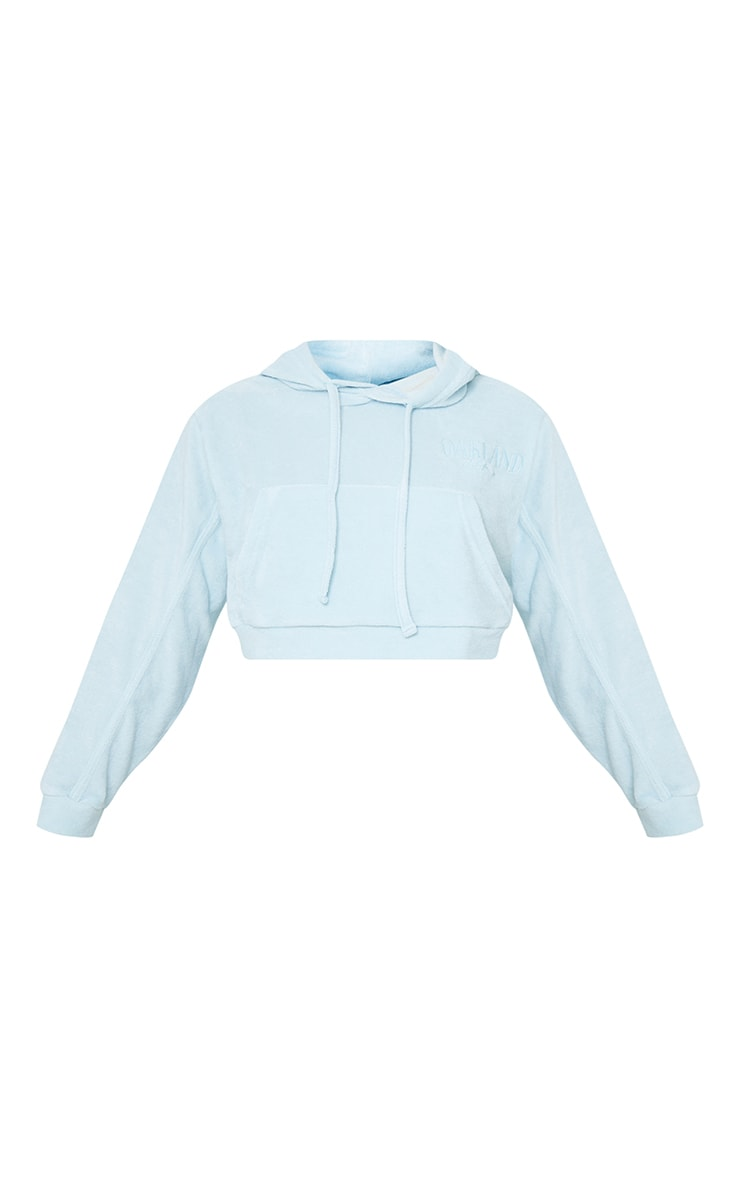 Petite Blue Velour Oakland Cropped Hoodie 5
