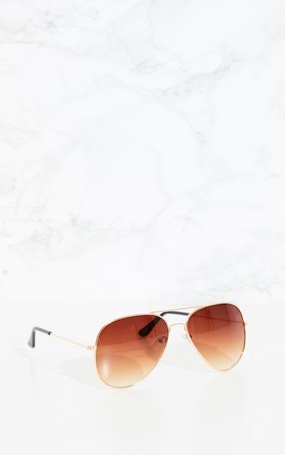 Brown Metal Aviator Sunglasses