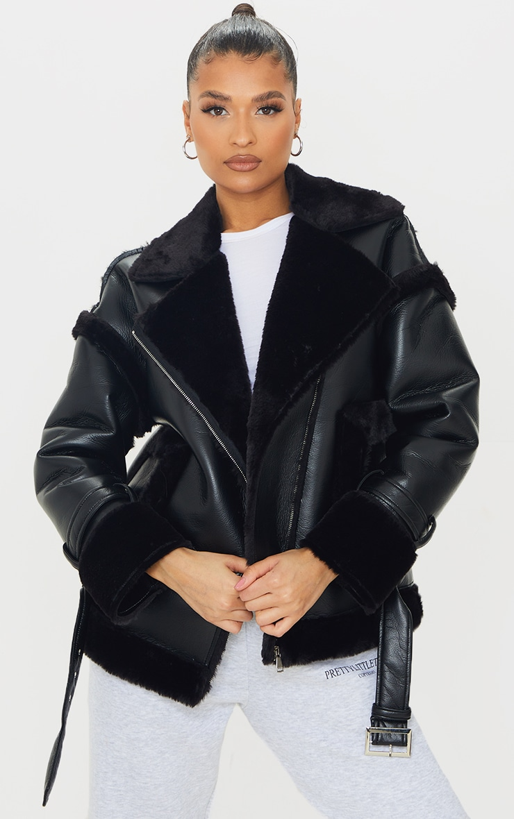 Black PU Outer Pocket Belted Oversized Faux Fur Lined Aviator 1