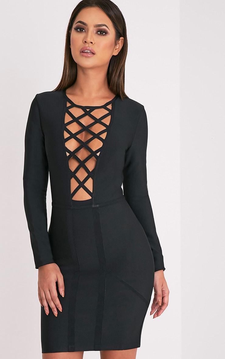 Dakota Premium robe moulante bandage treillis noire 1