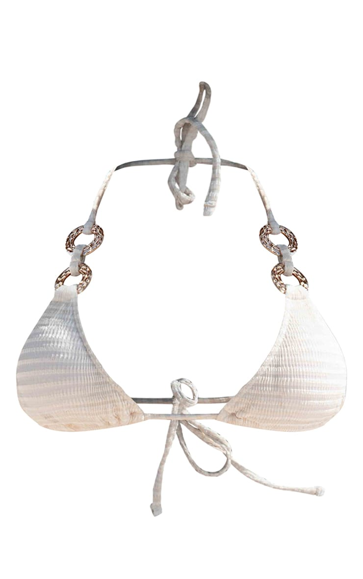 Plus Natural Gold Hammered Ring Velvet Waffle Triangle Bikini Top 3