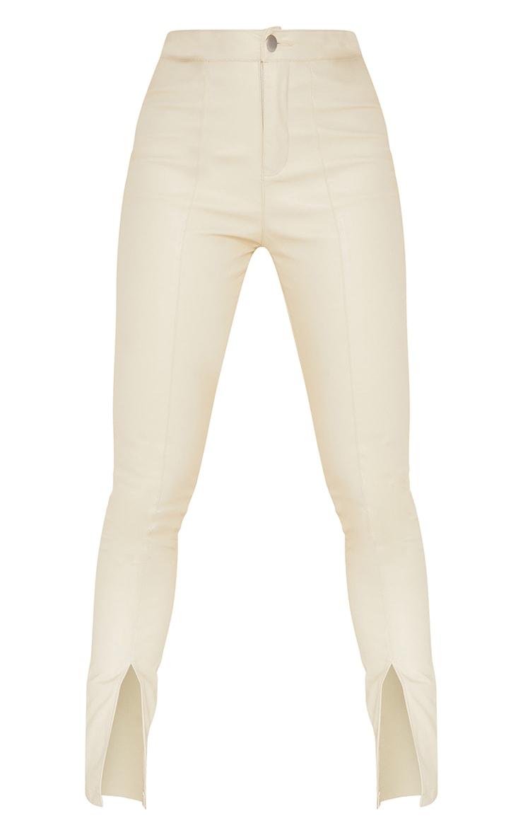 Cream Split Hem Faux Leather Skinny Pants 5