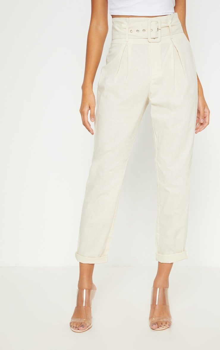 Cream Belted Paperbag Tapered Trouser 2