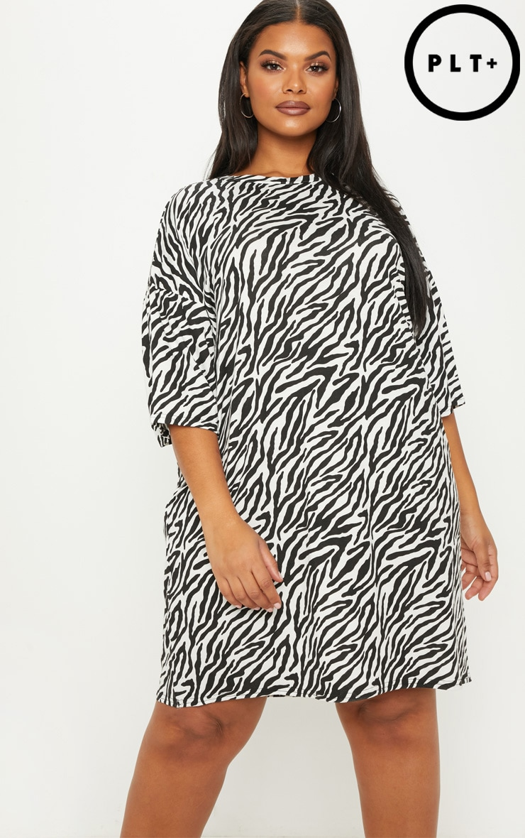 Plus White Zebra Print T Shirt Dress image 1 8039777e1