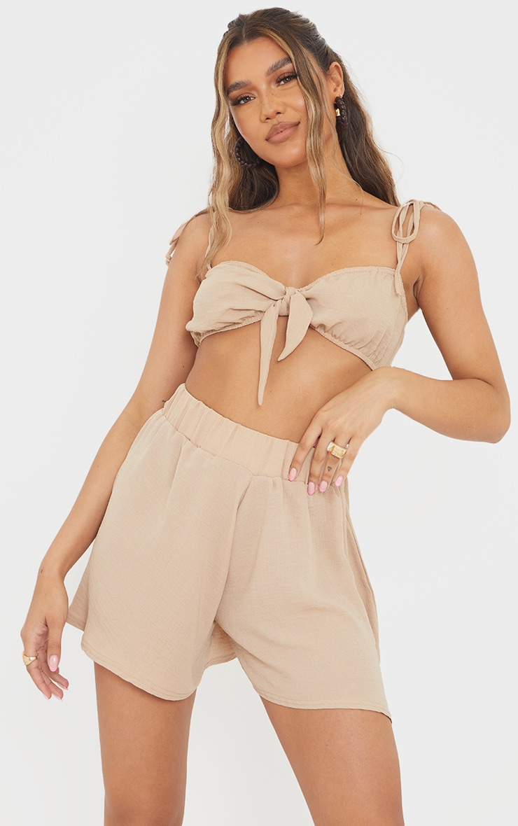 Stone Hammered Woven Tie Front Strappy Bralet 1
