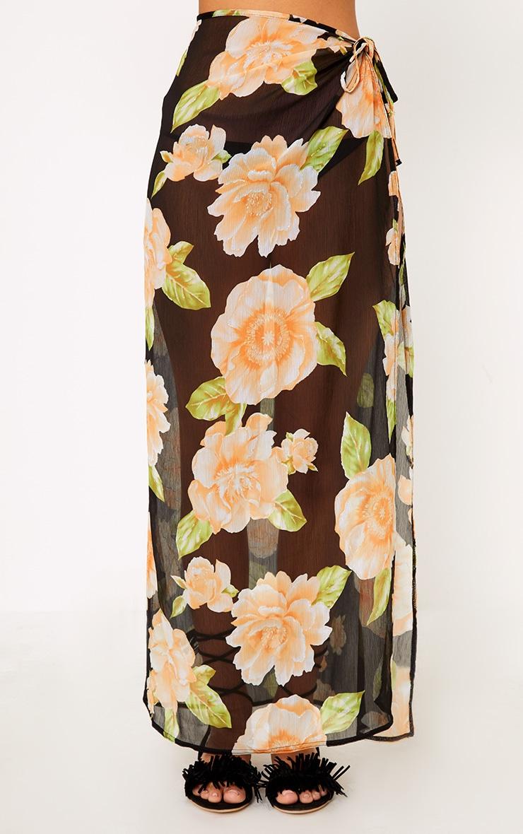 Black Floral Glitter Detail Beach Maxi Skirt 2