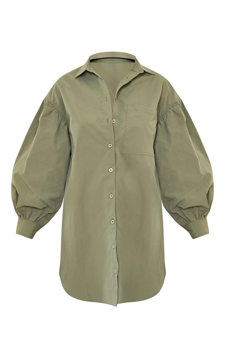 Khaki Pleated Puff Sleeve Shirt Dress 5