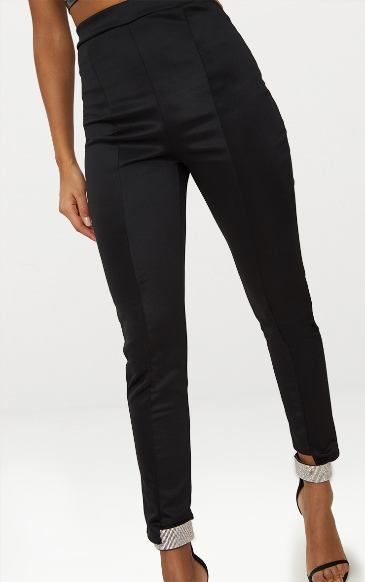 Black Scuba Step Hem Skinny Trousers 5