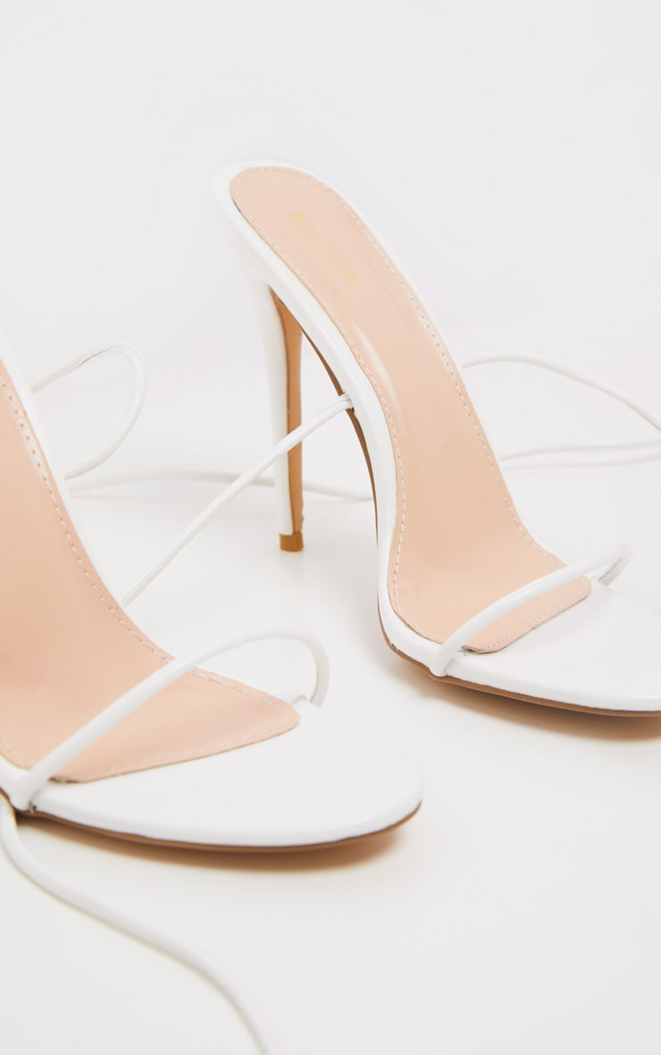 White Knee High Strappy Sandal 4