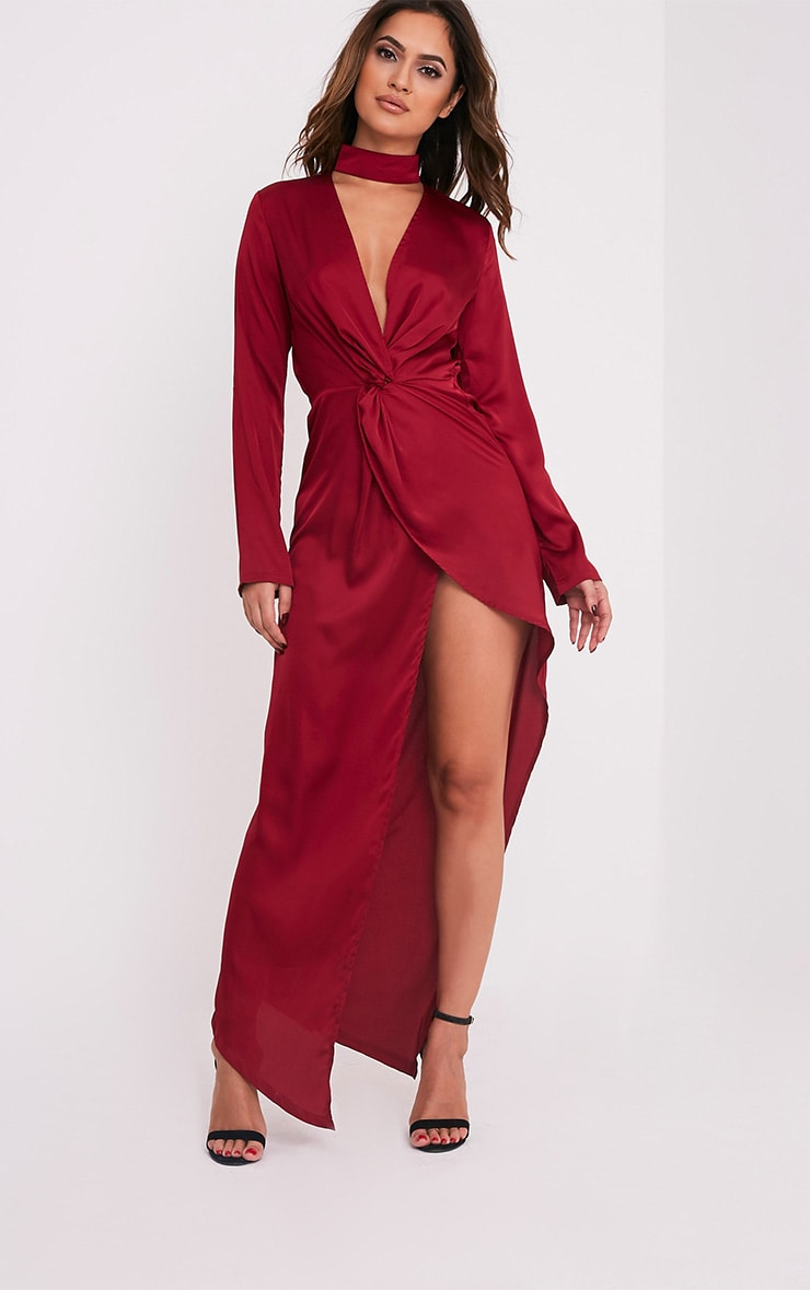 Melody Burgundy Choker Detail Asymmetric Maxi Dress 1