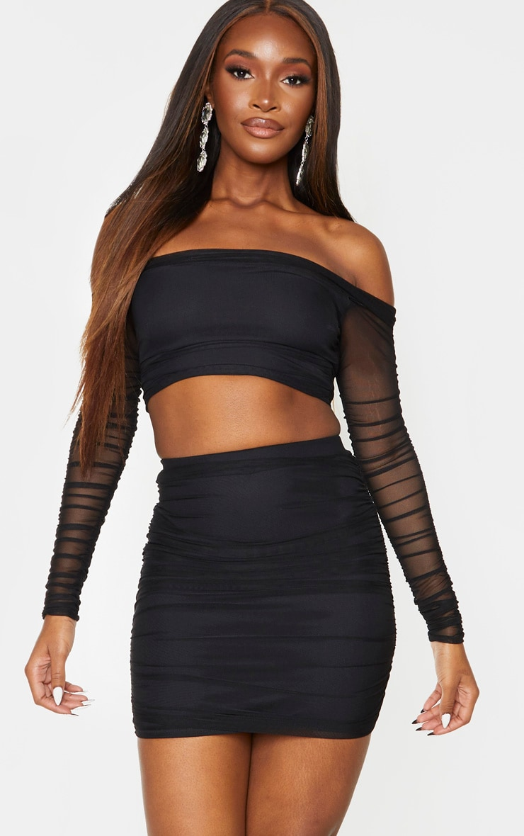 Black Mesh Ruched Side Skirt 1