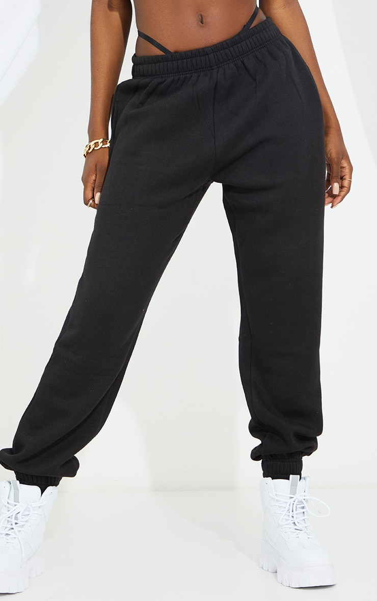 PRETTYLITTLETHING Tall Black Diamante Track Pants 2