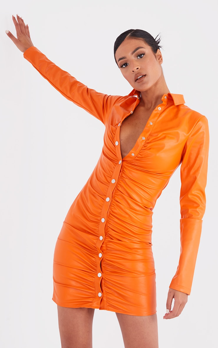 Tall Orange PU Ruched Long Sleeve Mini Dress 1