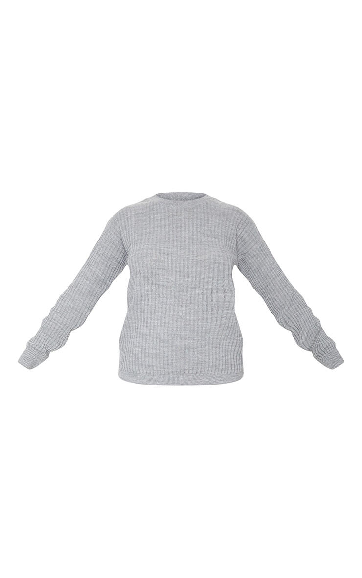 Grey Ribbed Slouchy Sweater Knitted Lounge Set 5