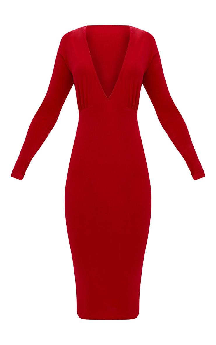 Red Long Sleeve Plunge Slinky Midi Dress 3