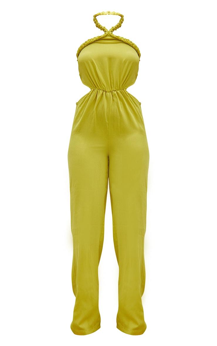 Chartreuse Plait Detail Cut Out Wide Leg Jumpsuit 5