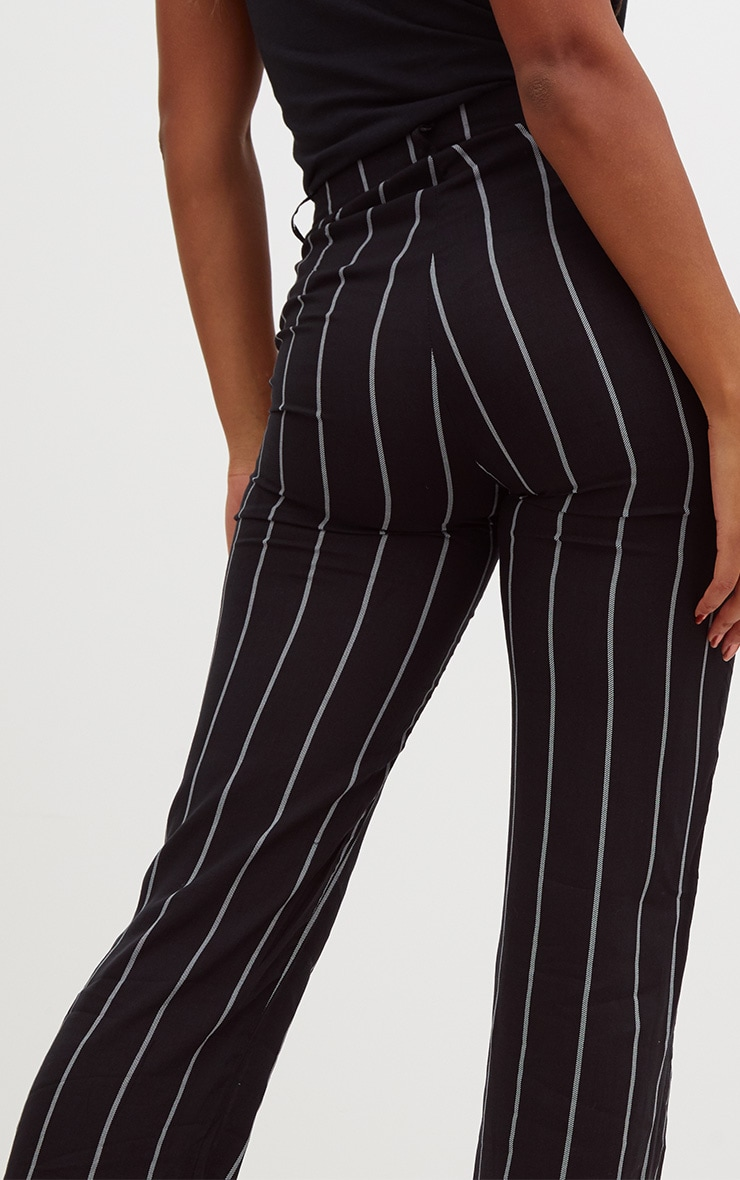 Black Pinstripe High Waisted Straight Leg Trousers 5