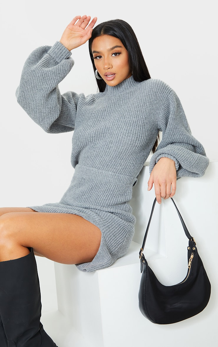 Petite Grey Oversized Balloon Sleeve Knitted Crop Sweater 1