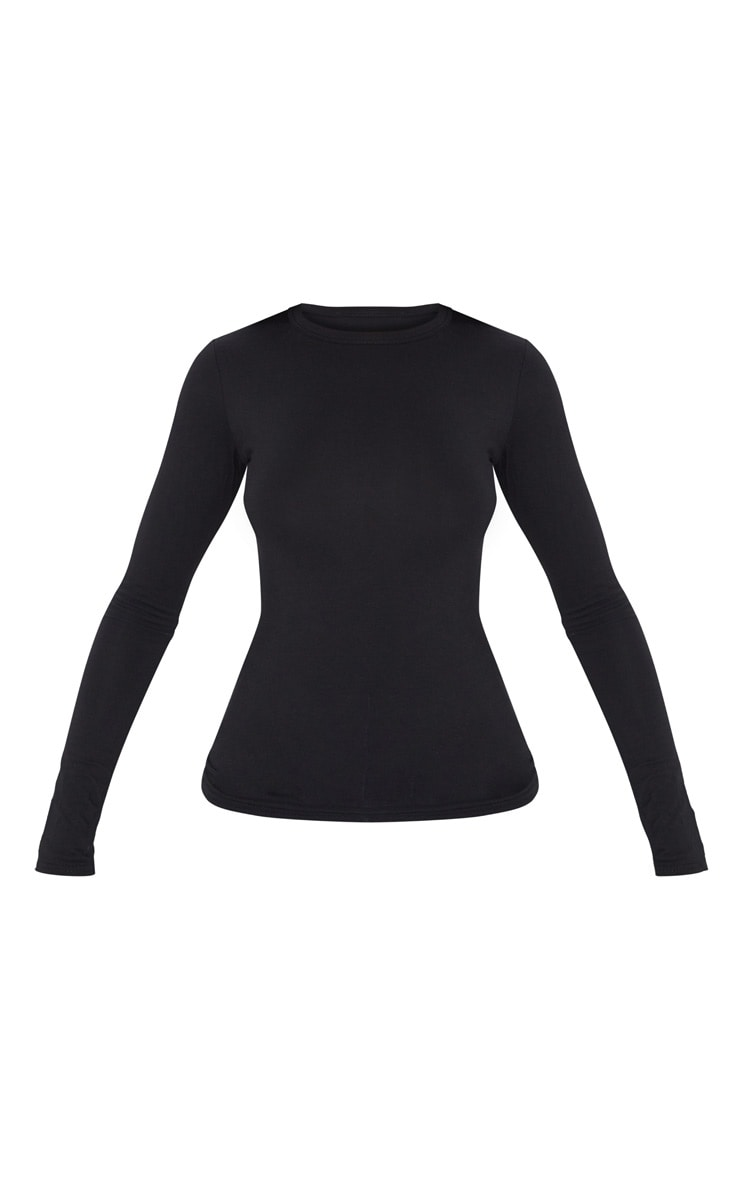 Essential Black Cotton Blend Long Sleeve Fitted T Shirt 5