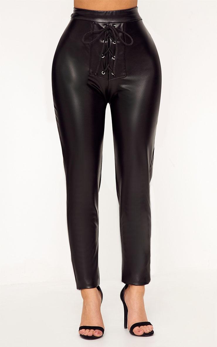 Shape Cynthia Black PU Lace Up Trousers 2