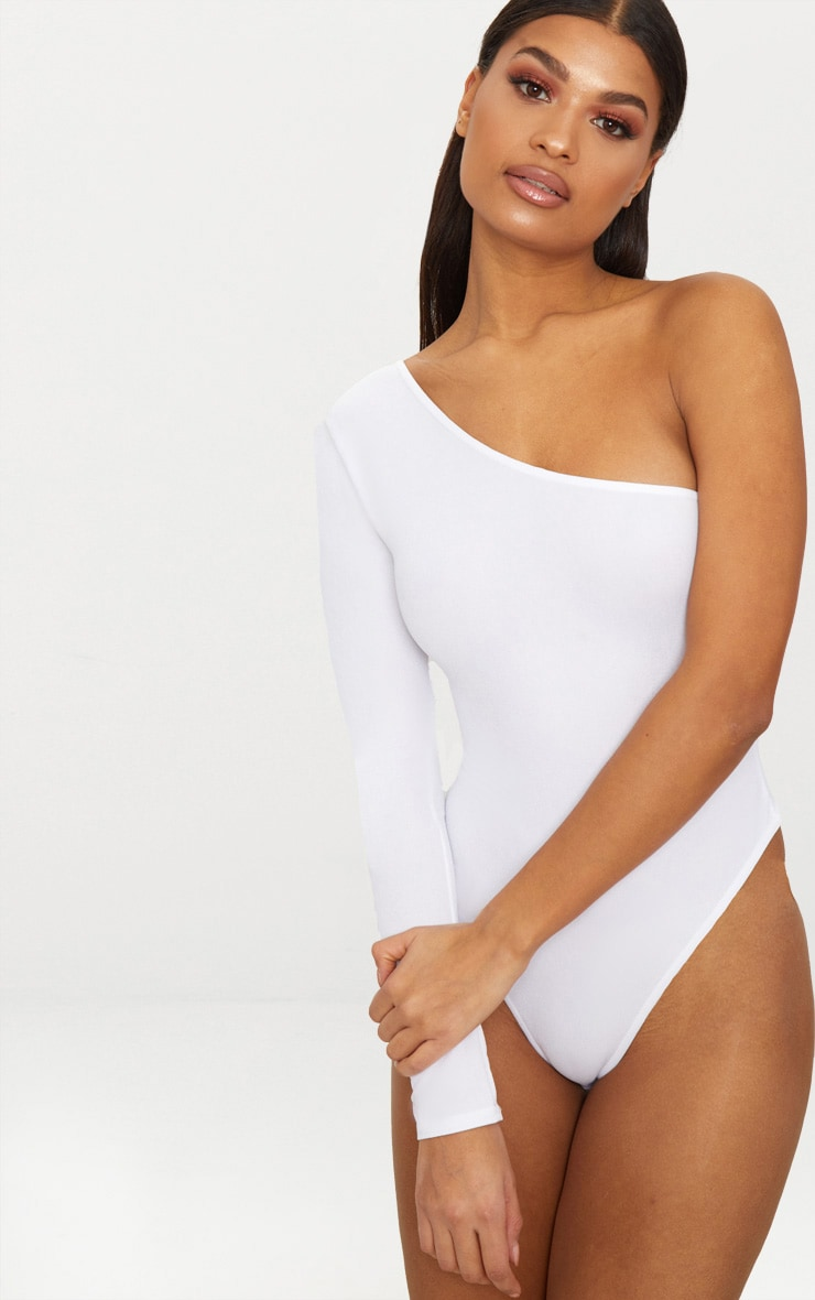 White Stretch Crepe One Shoulder Thong Bodysuit  2