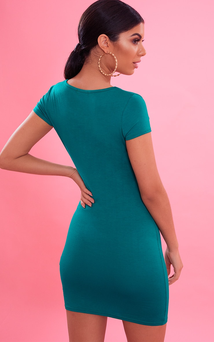 Bright Green  Plunge Front Cap Sleeve Bodycon Dress 3