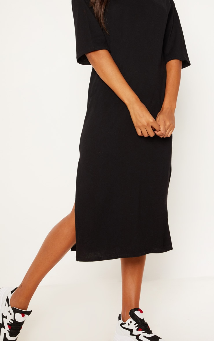 Black Oversized Midi T Shirt Dress 5