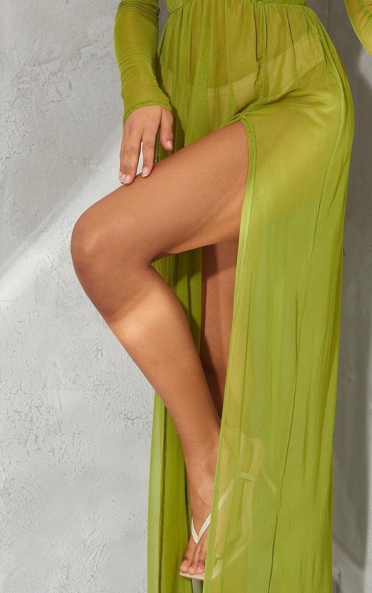 Olive Sheer Mesh Plunge Long Sleeve Split Maxi Dress 4