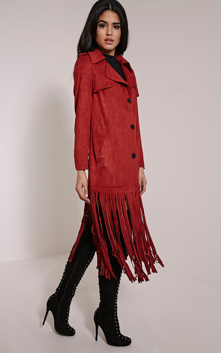 Jessica Rust Fringe Trim Trench Coat 1