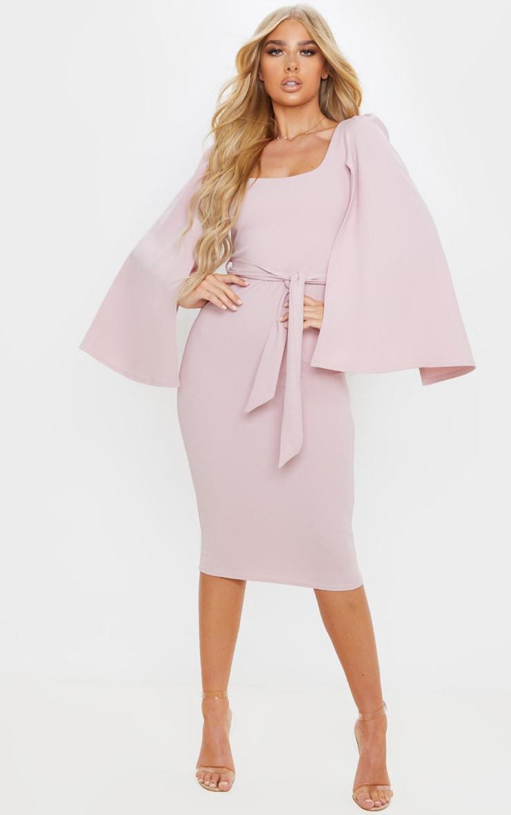 Dusty Lilac Cape Sleeve Tie Waist Midi Dress 1