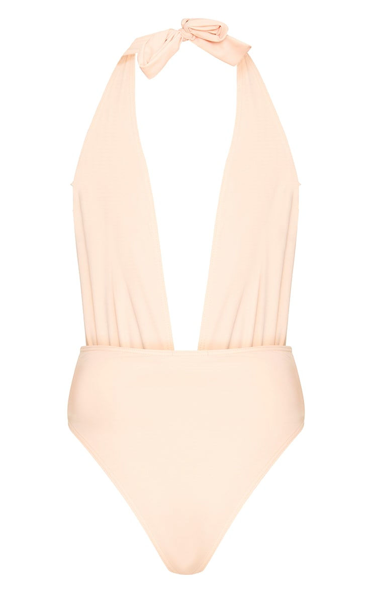 Lynnie Nude Applique Plunge Swimsuit  4
