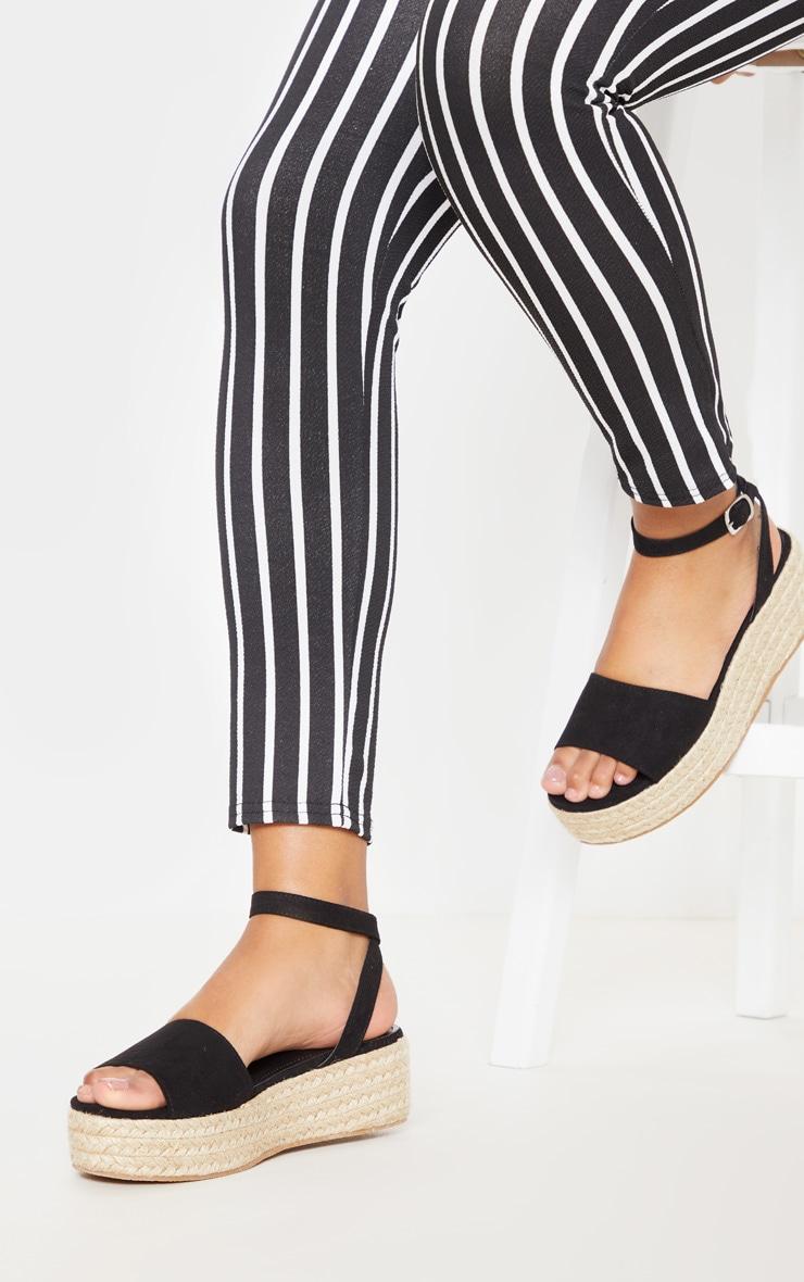 Black Espadrille Flatform Sandal 2