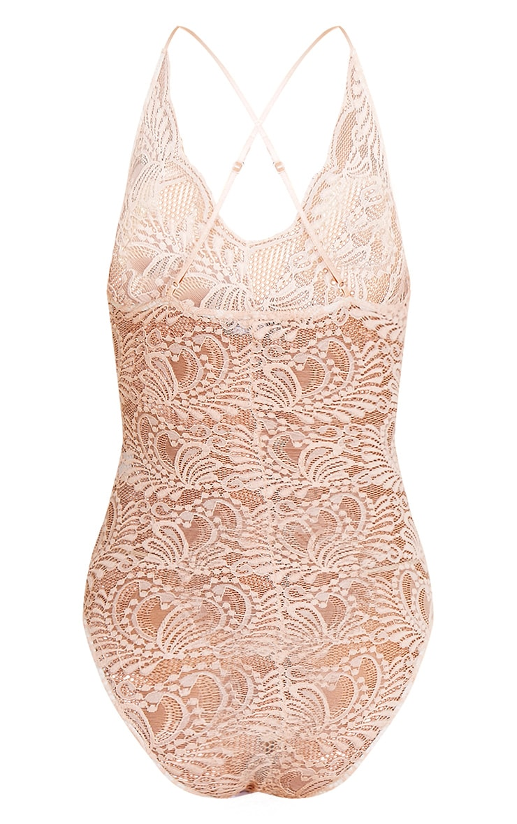 Lucille Nude Sheer Lace Cross Back Bodysuit 4