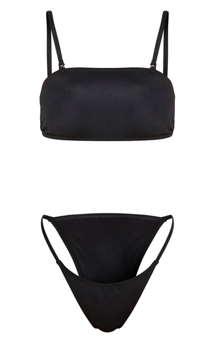 Black Minimal Tanga Bikini Set 5