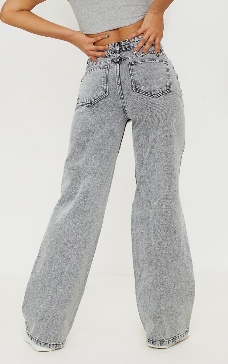 Grey Acid Wash Distressed Wide Leg Jeans 3