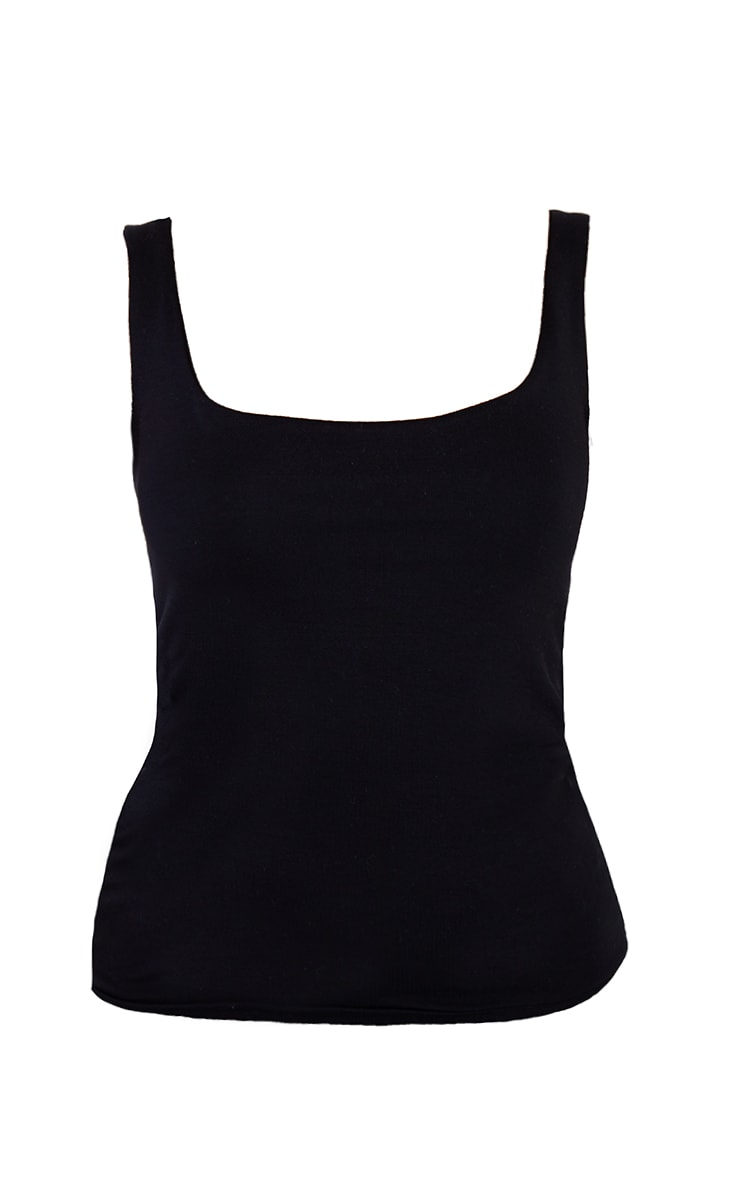 Basic Black Square Neck Jersey Vest Top 5