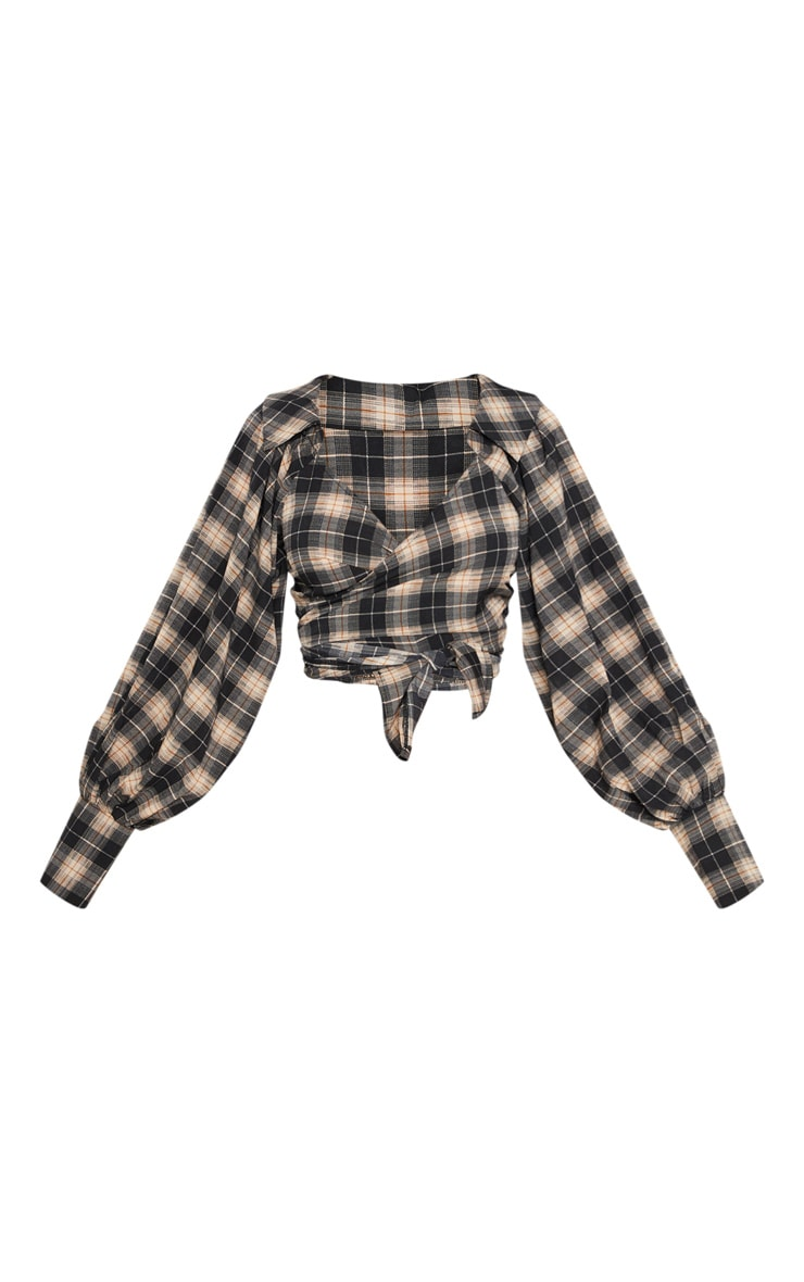 Black Check Tie Front Shirt 3